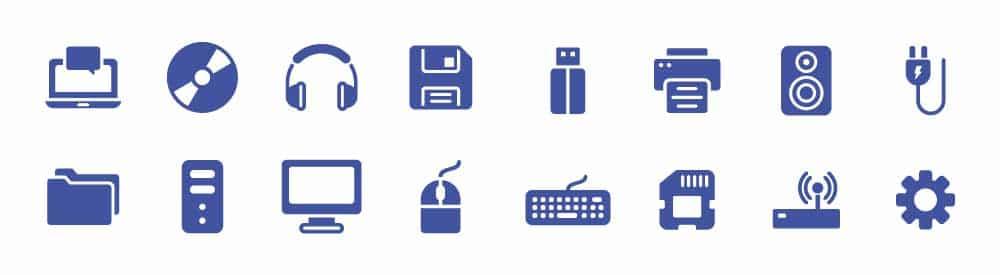 Ilustrações de ativos de TI, como: notebook, headphone, desktop, teclado, mouse e impressora