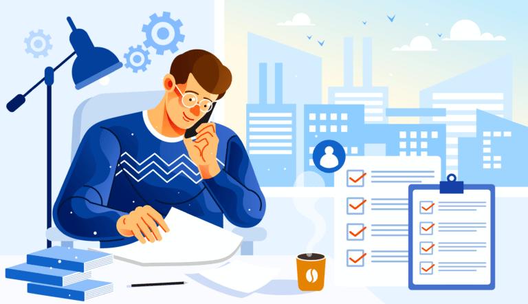 Ilustração de homem sentado à mesa de trabalho, analisando alguns documentos