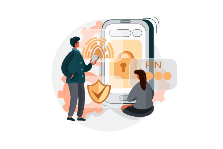 Homem e mulher olhando para a tela de um celular, que mostra um símbolo de cadeado