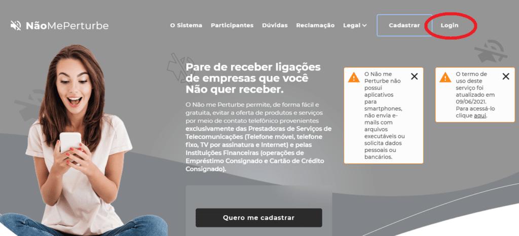 """Tela inicial da plataforma Não Me Perturbe, com destaque para o botão """"Login"""""""