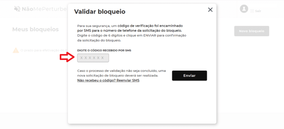 """Tela de validação de cadastro da plataforma Não Me Perturbe após o login, com destaque para a sentença """"Digite o código recebido por SMS"""""""
